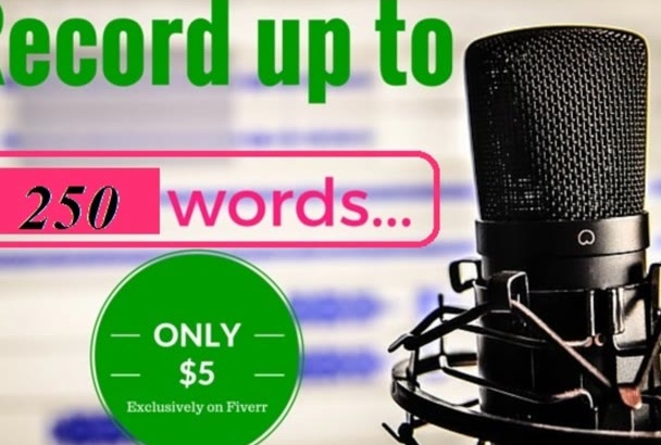 record your voice over in LESS than 24 hours