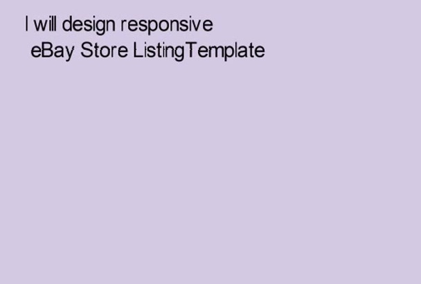 design responsive eBay Store ListingTemplate
