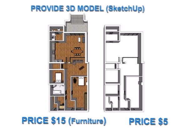 model your floorplan into 3D by SketchUp fastest