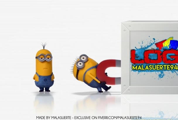 create a 3d intro with minions dragging your logo