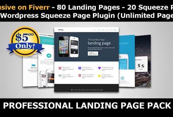 send 100 Landing Pages plus a LP Wordpress Plugin  U S seller