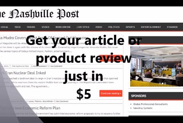 publish article on Nashville News blog separate page