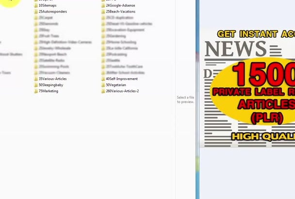 send you 1500 High Quality PLR Articles in 47 Niches