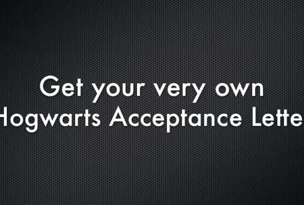 make a custom Hogwarts acceptance letter