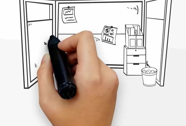 do modern highly professional an ANIMATED whiteboard video
