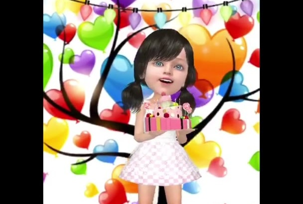 do your face in video cartoon animation style happy BIRYHDAY