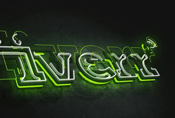 make amazing Neon 3D logo intro animation in 24H