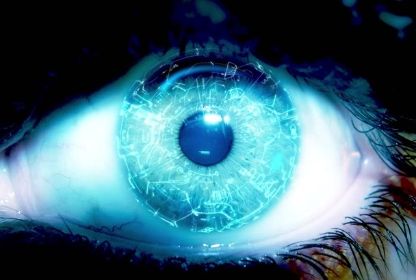 design a 3D Cybernetic Eye Logo Reveal