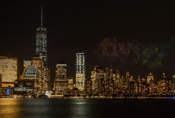do a Fireworks display revealing your logo or message