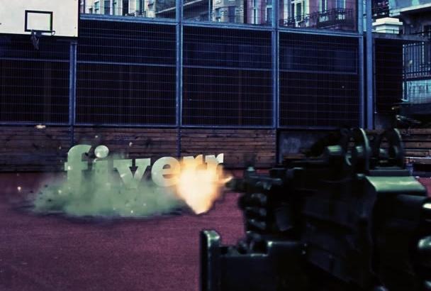 put your LOGO or text in Machine Gun Action Video