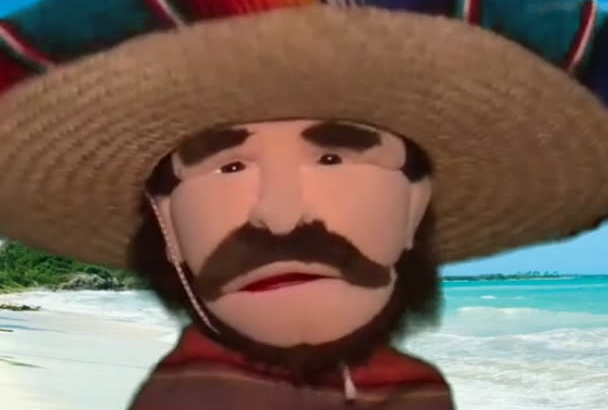 fun Mexican Bandit Puppet Video Ad or Voice Over Message