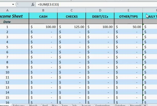 31 Day Income Tracking Spreadsheet