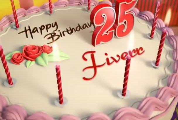 create a realistic happy birthday cake video