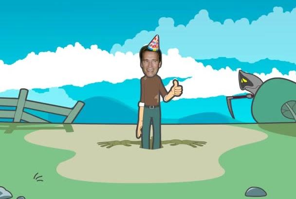 make a funny Happy Birthday cartoon
