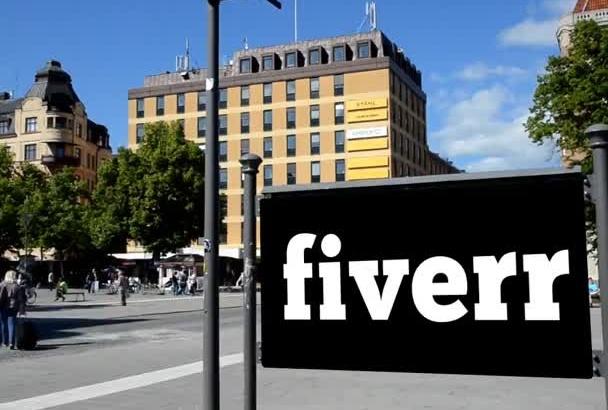 add logo text banner on street billboard Video