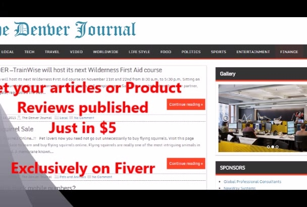 post an article on Denver News blog separate page