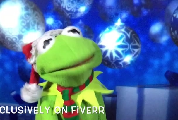 create a personalized Christmas video greeting from Kermit
