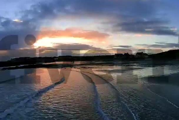 create a beautiful sunset beach scene with my drone