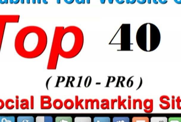 submit 40 Manual Social Bookmark PR6 to PR10