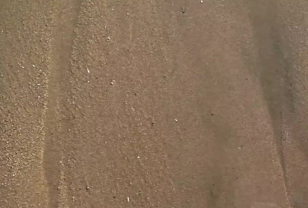 make HD Video of a sea wave reveal your message on sand