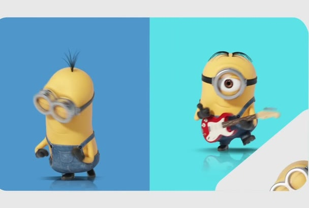 create a Minions despicable me HD video with your logo