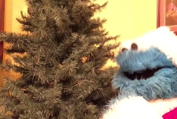record a video holiday greeting from the Cookie Monster