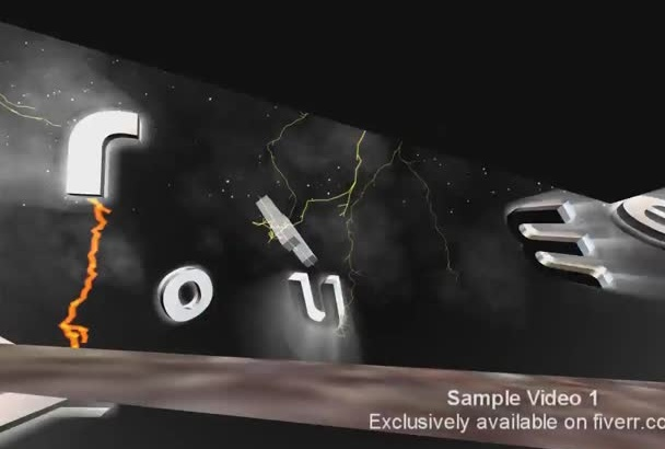 design 3D Fire and Metal Title Promo Video