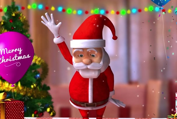 make a CHRISTMAS video intro with dancing Santa with your logo