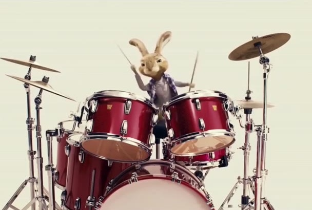 make a Amazing bunny playing drums to Advert your LOGO
