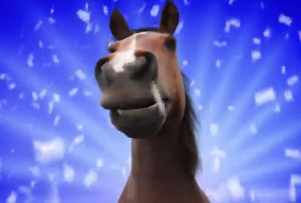 create a FUNNY horse videogreeting intro animation