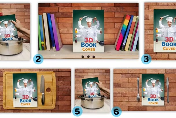 create a 3D Book Cover Mockup for your Cookbook in 6 Different Styles