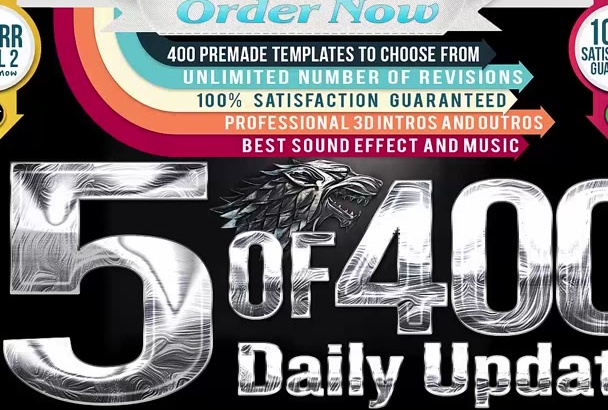 make artistic 5 intro video from 400 intros album