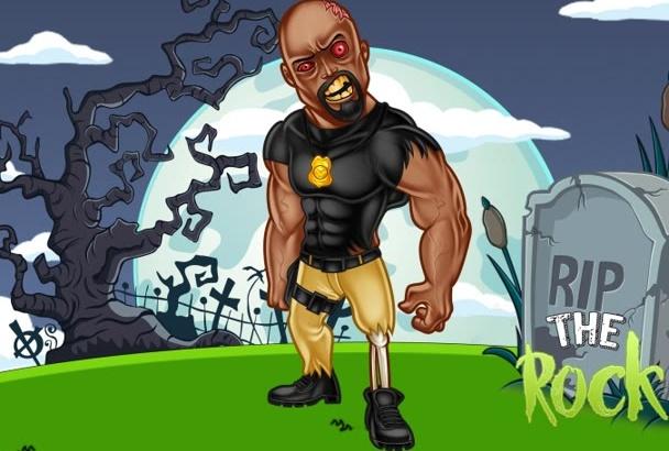 illustrate a Premium Zombie Cartoon