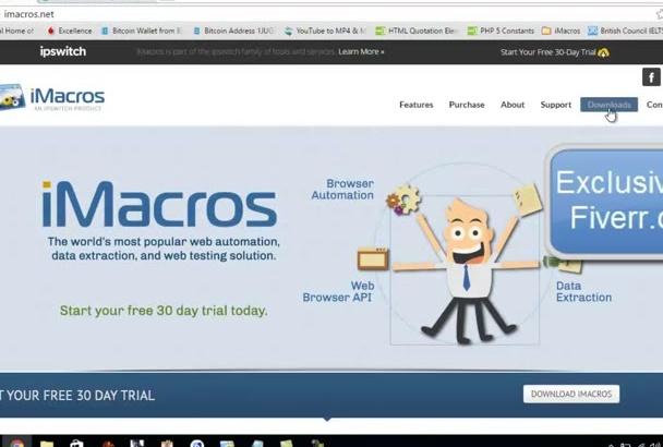 create any iMacros script to automate any web task