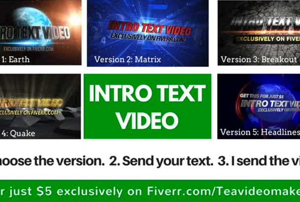 produce an Awesome Intro Text Video Animation in 24 hours