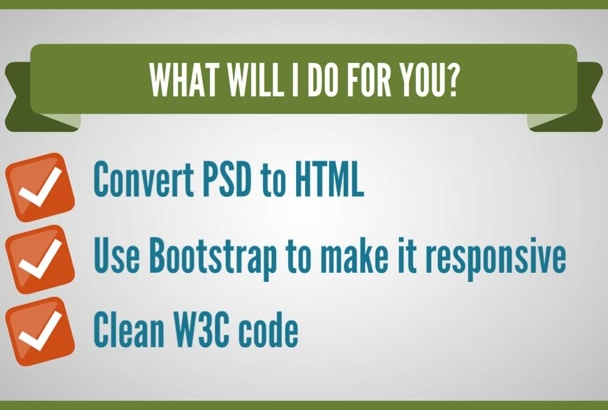 do PSD to responsive html in 24 hours