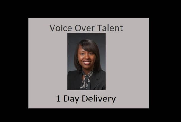 record a high quality, African American female voiceover