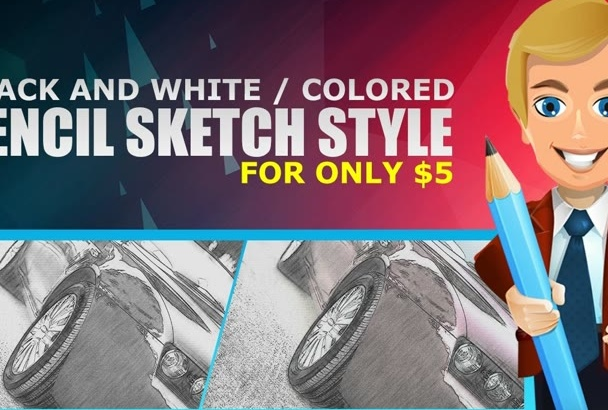 do a pencil sketch style in Adobe Photoshop within 24 hours