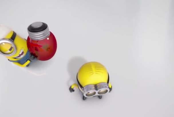 minion funny bulb video with your logo and text in 6 hours