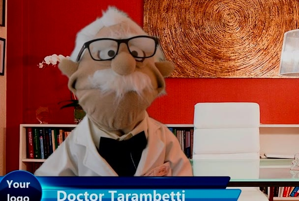 make a doctor PUPPET or professor puppet video in English or in Spanish for you