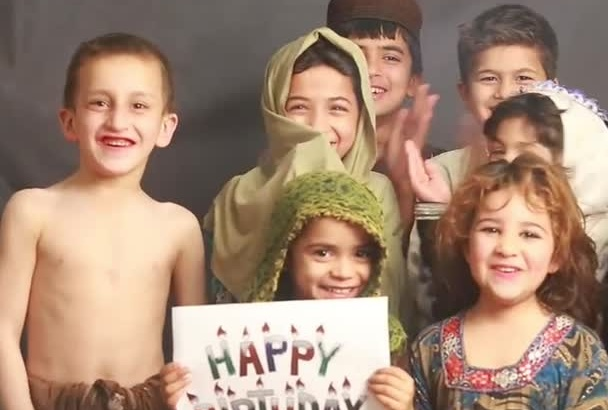 wish you Happy Birthday in street of Afghanistan