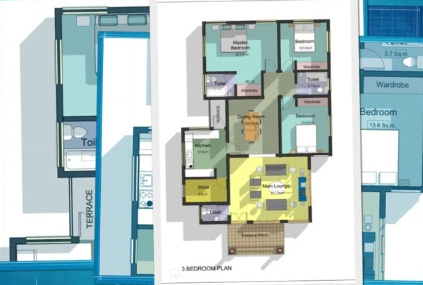 draw presentation quality architectural floor plans