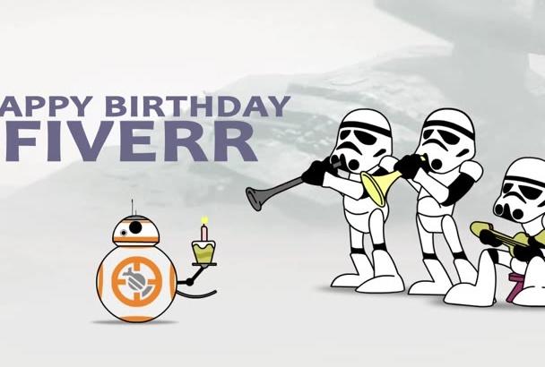 make a funny Star Wars Happy BIRTHDAY video