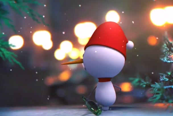 create a Christmas SNOWMAN Holiday Video Greetings
