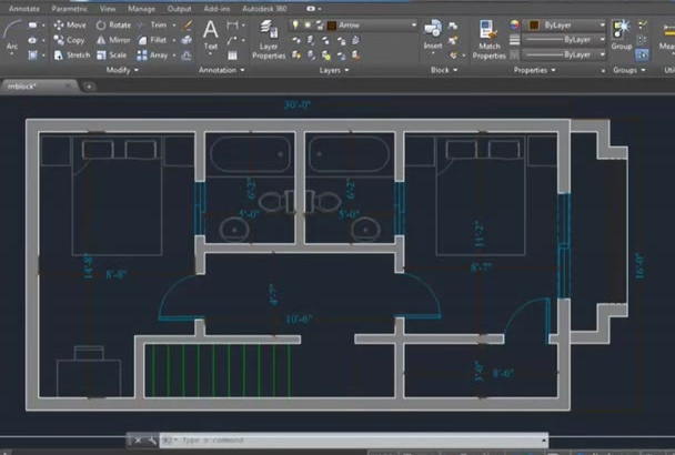 create or Trace 2D plan by AutoCAD and render with Photoshop