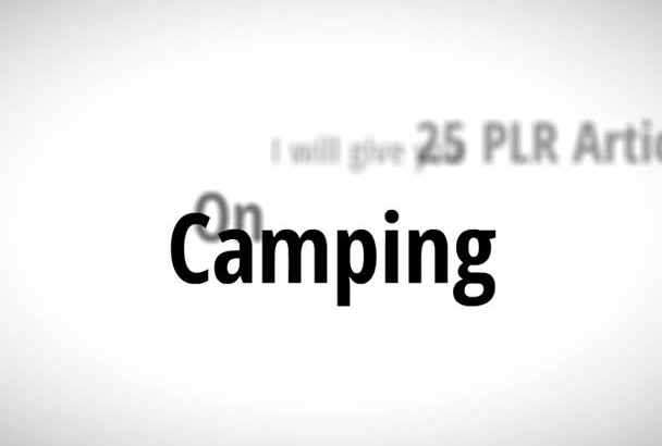 send you 25 PLR Articles on Camping