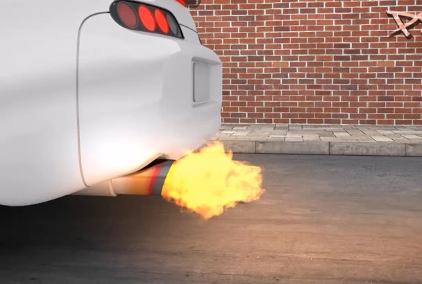 make a racing tuning turbo Logo Intro exhaust flames