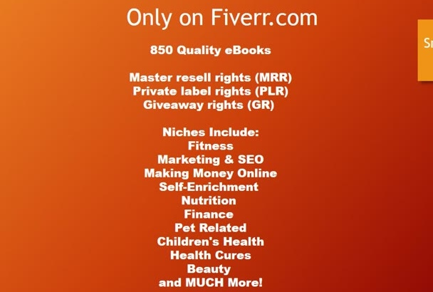give Quality 1000 ebooks, full resale mrr, plr, multiple niches