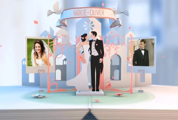 create WEDDING pop up album video