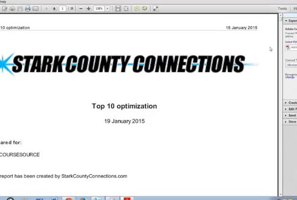 run a detailed optimization report on your website for SEO